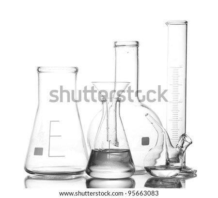 Different laboratory glassware with water and empty with reflection isolated on white