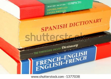 different language dictionaries - stock photo