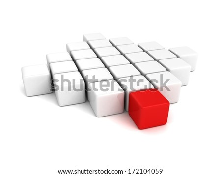 different leader red cube out from white crowd - stock photo