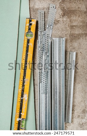 Different materials for build a plasterboard walls - stock photo