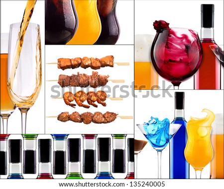 different meat dishes and alcohol drinks - beer,cocktail,cola,bbq,porky,beef,chicken,shrimp,wine,champagne - stock photo