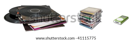 Different media to store music - stock photo