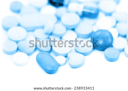 Different medical tablets in monochrome color - stock photo