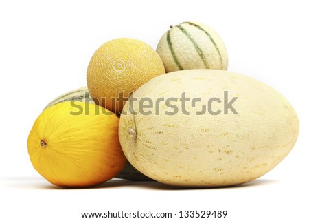 different melon isolated on white - stock photo