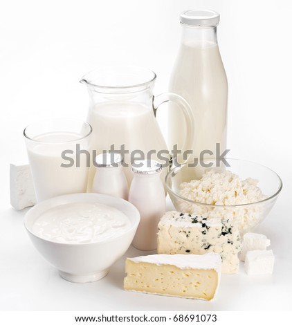 Different milk products. On a white background. - stock photo