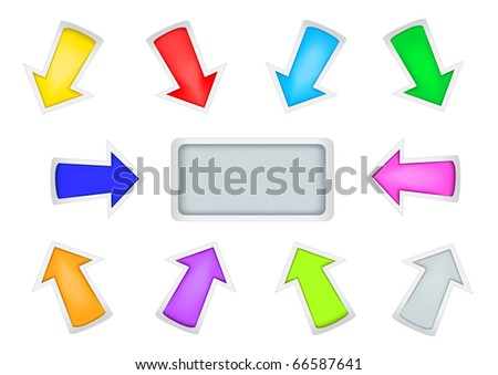 Different multi-colored simple arrows isolated on the white background