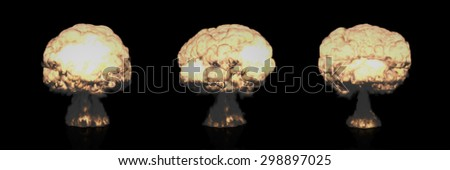 Different Mushroom Clouds of Nuclear Explosion symbolizing Global War issues, Environmental Protection and the Danger of Nuclear Energy (Rendering in 3D Program). - stock photo