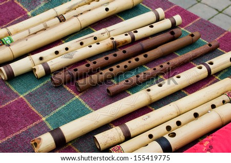 different musical flute - stock photo
