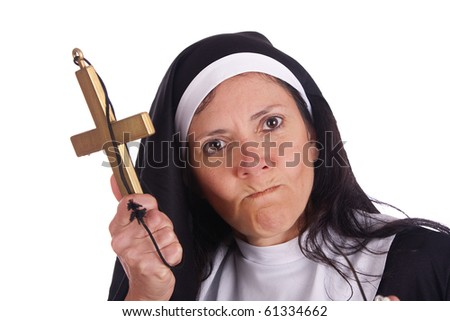 Different nun with funny expression - stock photo