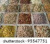 Different nuts in the street shop in Dubai - stock photo
