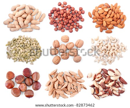 different nuts isolated on white background - stock photo
