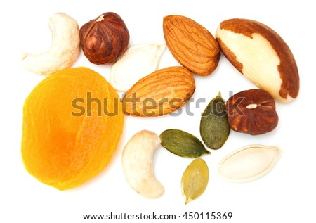 Different nuts on a white background. view from above