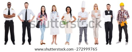 Different occupations. Collage of people in different occupations standing against white background  - stock photo
