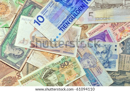 different old currency banknotes. money background - stock photo
