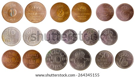 different old swedish coins isolated on white background - stock photo