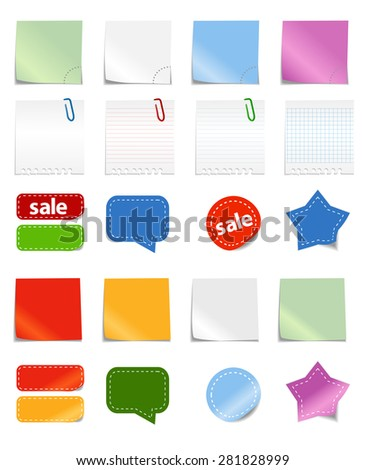 Different paper stickers. Raster version - stock photo