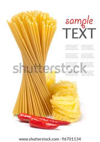 different pasta and noodle on white background