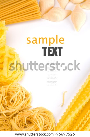 different pasta and noodle on white background. frame - stock photo