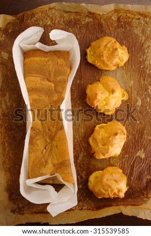 different pastries in top view - stock photo