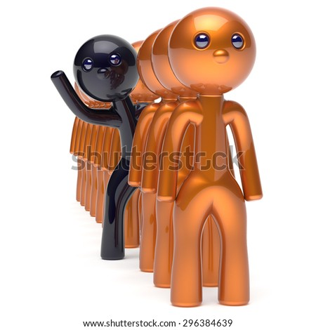 Different people black man character stand out from the golden crowd unique individuality think differ person otherwise hello to new opportunities concept human resources hr icon. 3d render isolated - stock photo