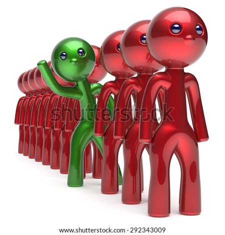 Different people character individuality stand out from the red crowd unique green man think differ person otherwise welcome to new opportunities concept human resources hr icon. 3d render isolated - stock photo