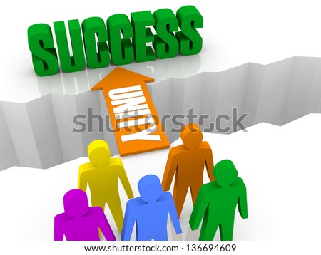 Different people get SUCCESS by the UNITY. Concept 3D illustration. - stock photo