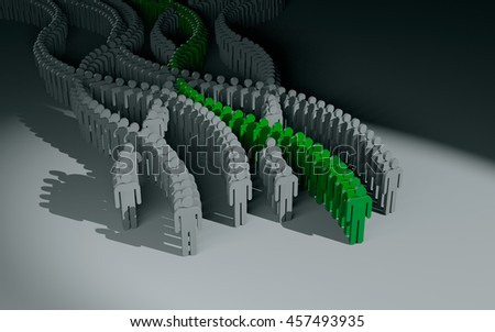 Different people. Green crowd. 3d illustration - stock photo