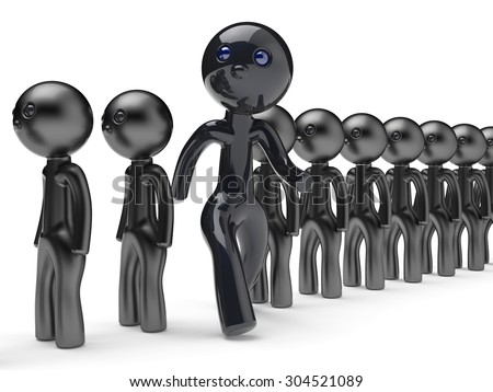 Different people man stand out from crowd giant character black think differ unique person otherwise run to new opportunities concept individuality referendum vote icon 3d render isolated - stock photo