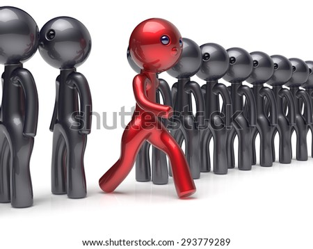 Different people red man character individuality stand out from the black crowd unique think differ person otherwise run to new opportunities concept referendum vote icon. 3d render isolated - stock photo