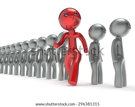 Different people red man character individuality stand out from the white crowd unique think differ person otherwise run to new opportunities concept referendum vote icon. 3d render isolated - stock photo