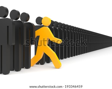 Different people. Run to new opportunities - stock photo