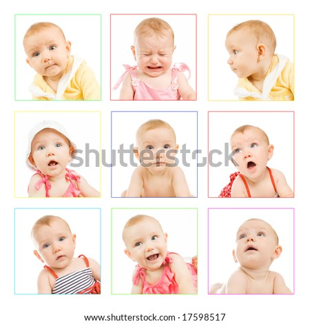 different photos of an adorable baby girl; funny faces - stock photo