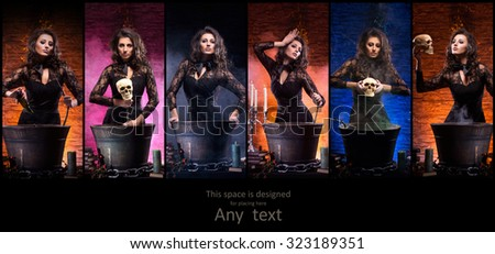 Different photos of young and beautiful witch making witchcraft in dungeon (Halloween collection) - stock photo