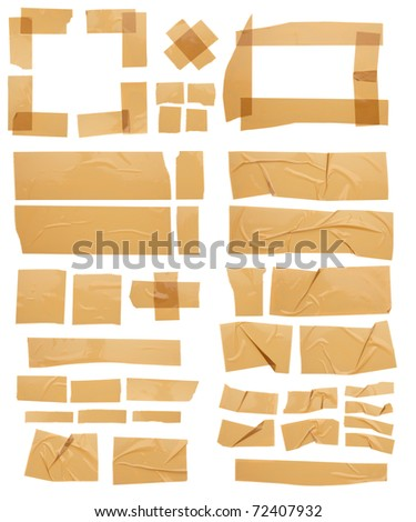 Different pieces of Masking Tapes; torn, crossed, wrinkled and framed. Hi-res about 58MP. - stock photo
