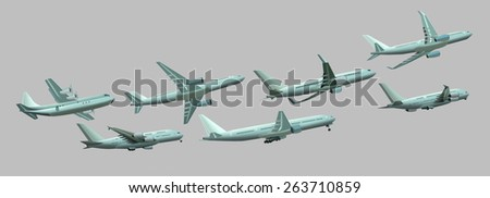 Different planes on a gray background - stock photo