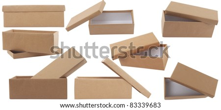 different point of view of blank brown box with lid on white background - stock photo