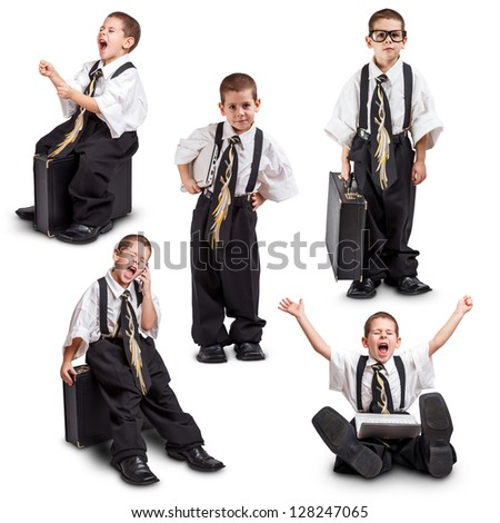 Different pose of a little boy in oversized business suit