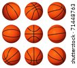 Different positions of basketballs isolated on white background. - stock photo