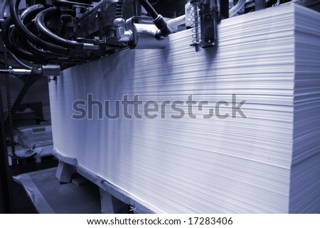 Different printed machines and polygraphic equipment - stock photo