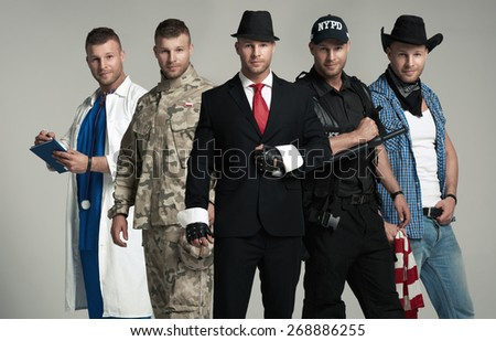 Different professions. One person five times - stock photo