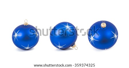Different projection of blue christmas ball with white stars shoot on white - stock photo