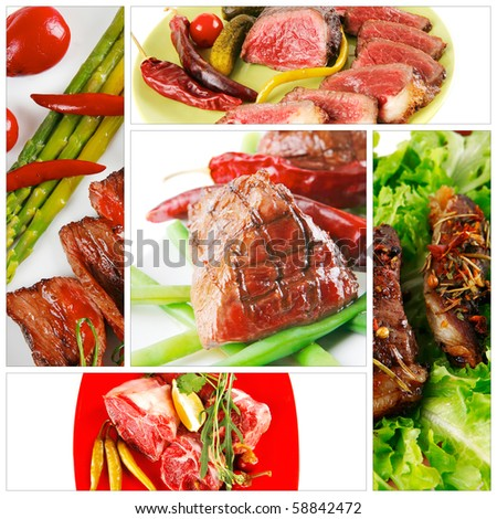 different raw and roasted beef meats on white - stock photo