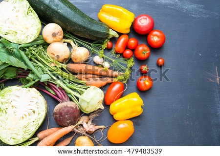 Different raw vegetables background.Healthy eating.