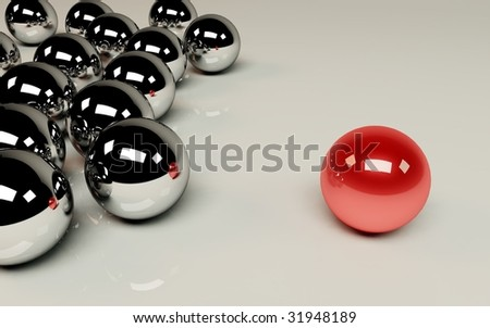 different - red aball among the others - stock photo