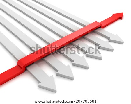 different red arrow right direction. individuality success concept 3d render illustration - stock photo