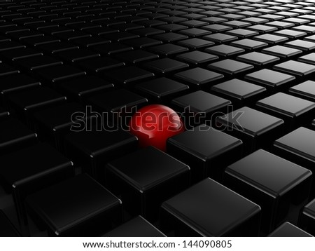 Different red ball among black cubes - stock photo