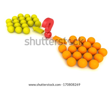 Different red ball choice two concept team groups - stock photo