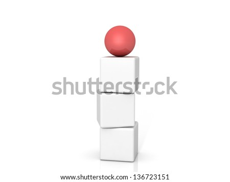 Different red ball on white background - stock photo