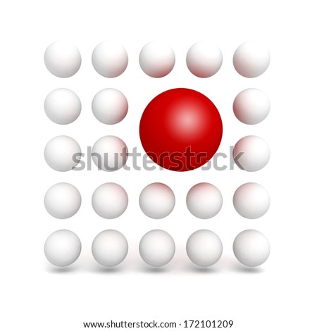 Different red ball sphere in other white crowd - stock photo