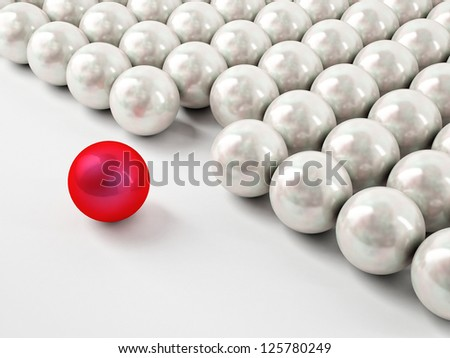 Different red ball with reflection - stock photo